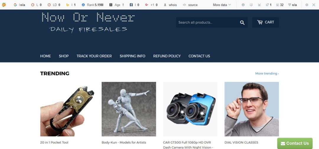 Now Or Never Store website