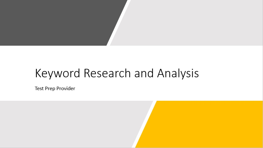 Keyword Research and Analysis Pitch